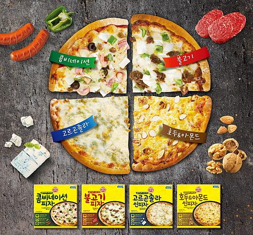 오뚜기에서 출시한 정통 피자 4종 포스터
