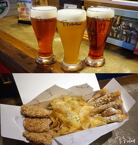 봉구비어 꿀과일 맥주 3종 및 치킨 스틱 연출 컷