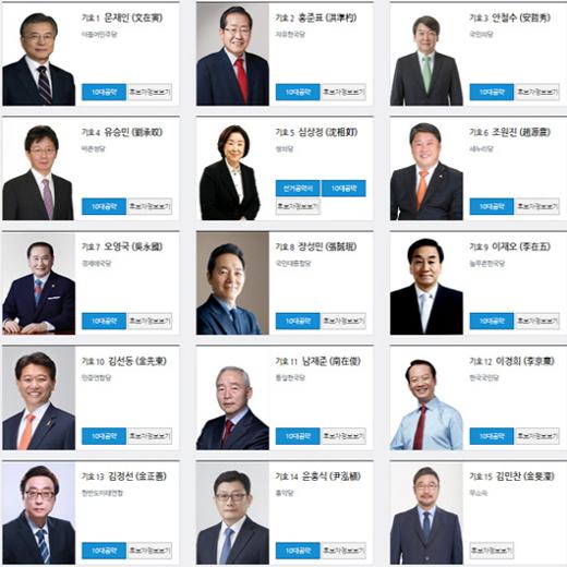제 19대 대선, 역대 최다 15명 후보 등록…오늘부터 선거운동 시작
