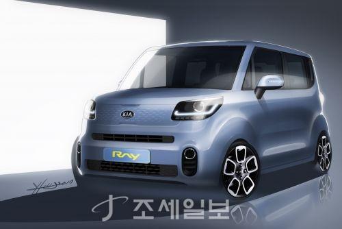 기아차는 2011년 출시 이후 처음으로 디자인을 변경한 레이 상품성 개선모델의 렌더링