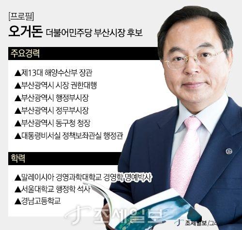 더불어민주당 부산시장 후보 오거돈 프로필. (그래프=이민경)