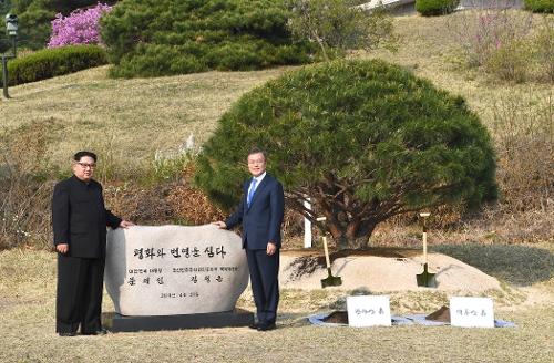 문재인 대통령과 김정은 국무위원장은 27일 오후 4시경 판문점 정주영