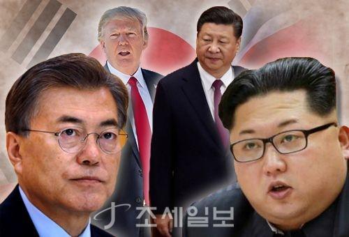 27일 오후 환송행사에서 공연을 보면서 박수를 치고 있는 문재인 대통령 내외와 김정은 북한 국무위원장 내외 (그래픽=이민경)