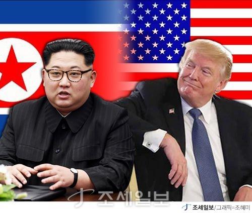 12일 정상회담 중인 도널드 트럼프 미국 대통령과 김정은 북한 국무위원장 (그래픽=조혜미)