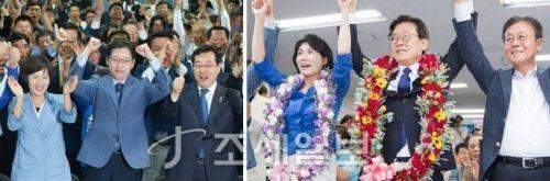 경남도지사에 당선된 김경수 더불어민주당 후보(왼쪽사진 가운데)와 경기도지사에 당선된 이재명 민주당 후보(가운데). (사진=캠프 제공)