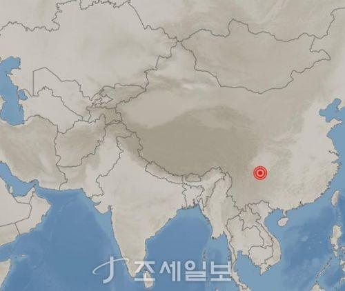 중국 쓰촨성서 규모 6.0 지진 <사진: 기상청>