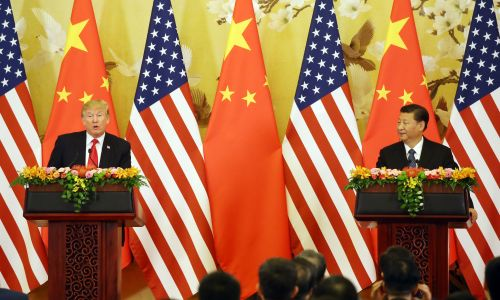 2017년 11월 정상회담이후 기자회견을 하고있는 트럼프 미국 대통령(왼쪽)과 시진핑 중국국가주석 (사진=연합뉴스)