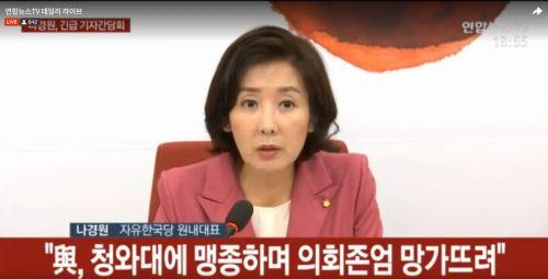 나경원 자유한국당 원내대표는 2일 조국 후보자의 기자간담회 도중 긴급 기자회견을 열어, 조 후보자와 여당을 맹렬히 비난했다(연합뉴스tv캡처)