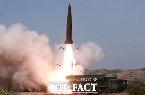 북한의 단거리 미사일 발사 모습. 기사내용과 관련 없음(더팩트)