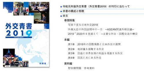 2019년 일본 외교청서 (일 외무성 홈페이지 캡처)