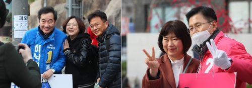 [포토] 이낙연·황교안, 출근길 선거 유세