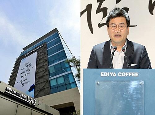 이디야 강남 신사옥(좌)과 비전 2020을 선포하는 문창기 회장(우)
